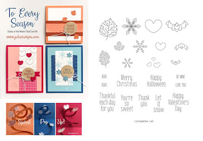 Stampin' Up! To Every Season Card Kit  ~ 2019 Holiday Catalog ~ Stamp of the Month Club Card Kit ~ www.juliedavison.com