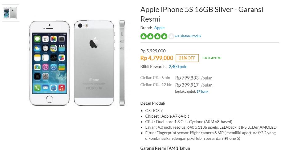 harga iPhone 5S 16GB Garansi Resmi TAM Blibli