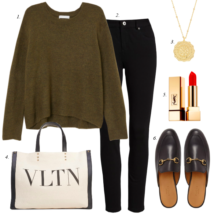 ponte knit black skinny pants, gucci georgetown black mules, casual sweater, pendant gorjana necklace
