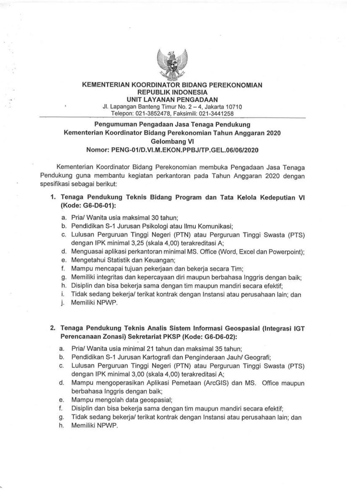 Lowongan Kerja Kementerian Koordinator Bidang Perekonomian Juni 2020