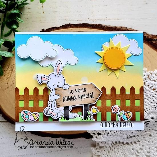 Some Bunny Special Card by Amanda Wilcox | Hoppy Greetings Stamp Set, Fence Die Set, and Sky Scene Builder Die Set by Newton's Nook Designs #newtonsnook #handmade