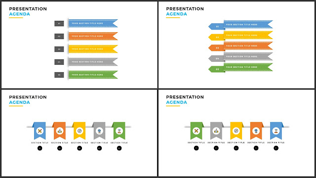 Table of Contents for Free PowerPoint Template using Ribbon Design