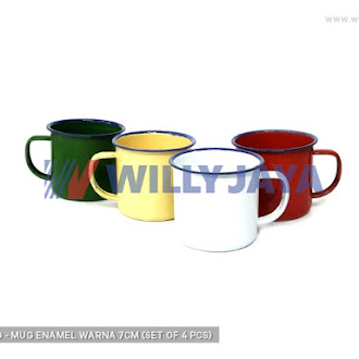 CALYPSO - MUG ENAMEL WARNA 7CM (SET OF 4 PCS)