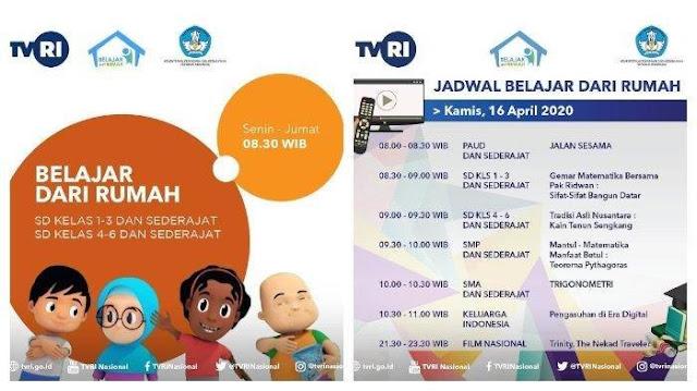 Jadwal Belajar Dari Rumah TVRI Paud, SD, SMP SMA/SMK Jumat, 17 April 2020