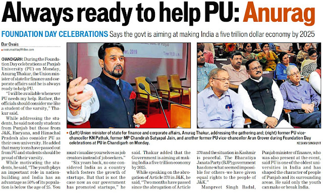 Union Minister of State for Finance and corporate affairs, Anurag Thakur, addressing the gathering and former MP Satya Pal Jain, former Vice Chancellor K N Pathak, Arun Kumar Grover during Foundation Day Celebrations at PU in Chandigarh