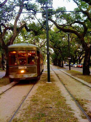 A Saint Charles Avenue streetcar travels uptown in New Orleans at Common Street