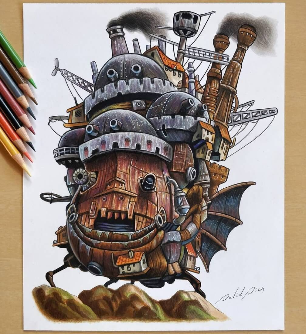 10-Howl-s-Moving-Castle-David-Dias-Drawings-Spanning-Many-different-Subjects-www-designstack-co
