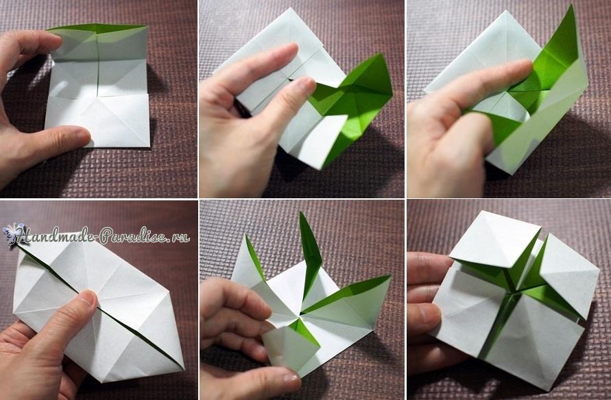 Гортензия из бумаги в технике оригами (7)