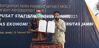 Resmi Sudah BPS Provinsi Jambi Dengan Fakultas Ekonomi Dan Bisnis UNJA Jalin MOU Dan MOA.