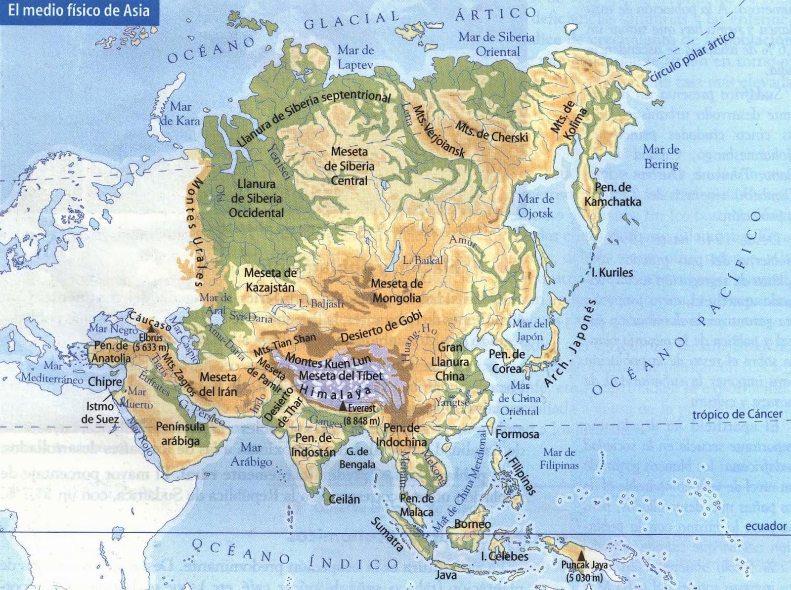 Mapa Fisico De Asia Interactivo.Blog De Sociales 1º Eso Relieve De Asia