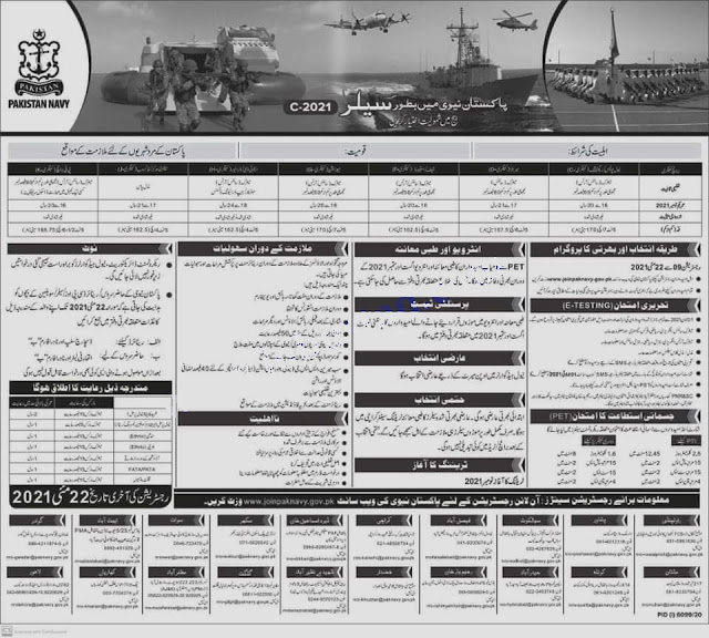 Join Pak Navy 2021 Jobs  by Online Registration