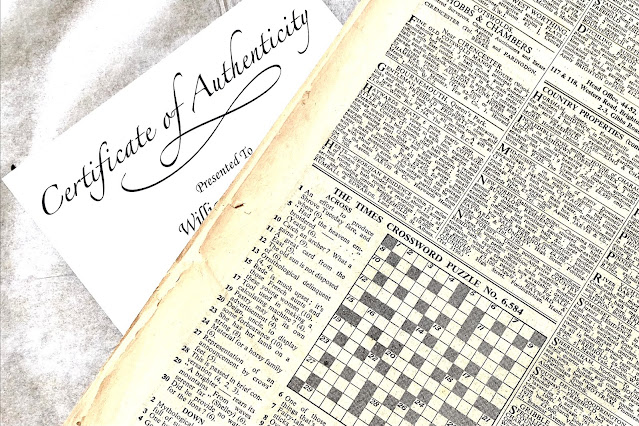 A close up of The Times crossword from April 1951 and the Certificate of Authenticity from Historic Newspapers