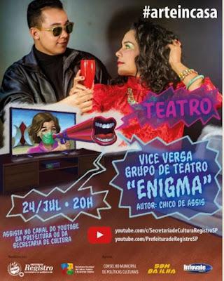 Sexta-feira é dia de live do Art In Casa com o espetáculo teatral Enigma