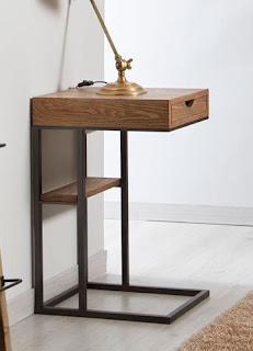 mesa auxiliar estilo rustico actual acabado madera forja