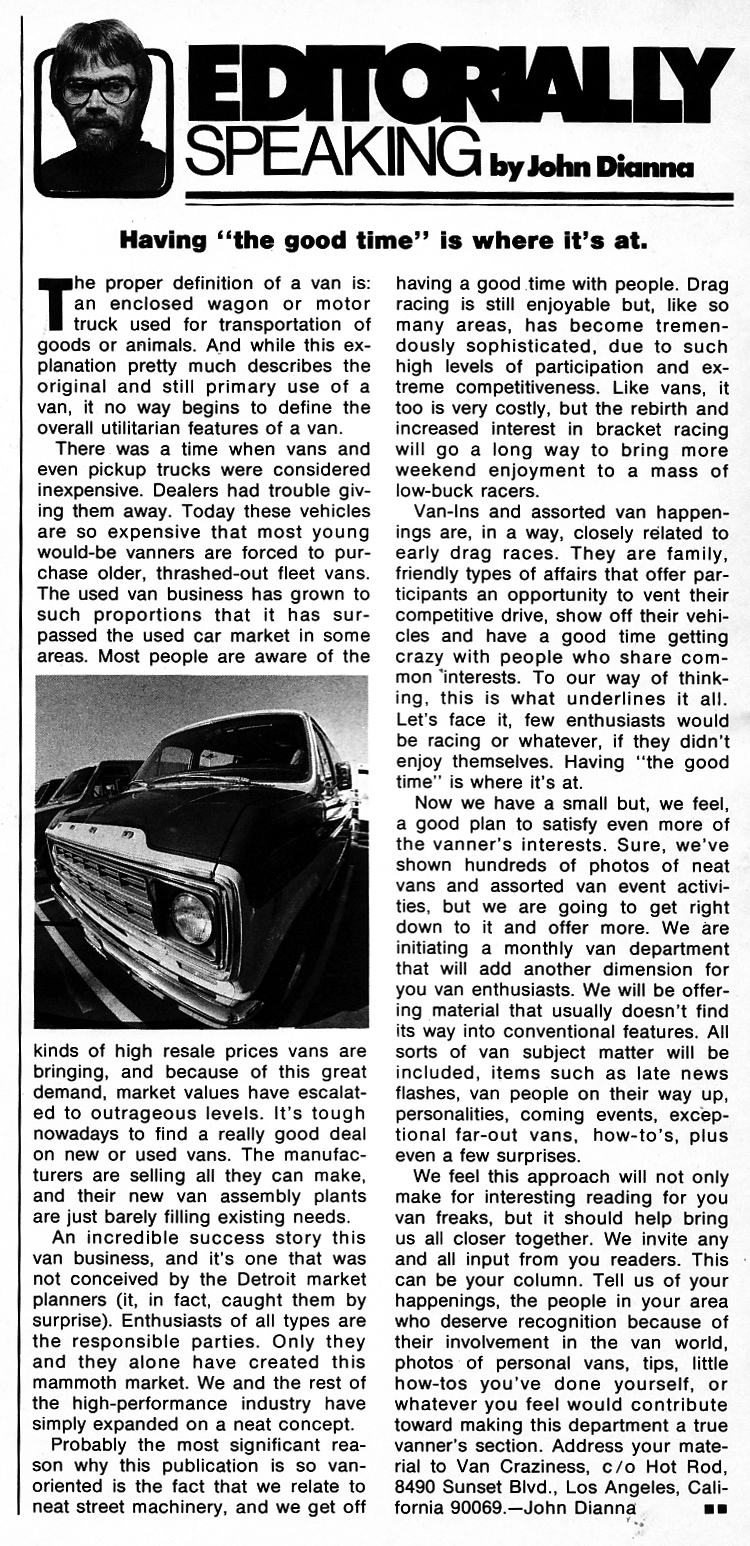 Hot Rod magazine column on vans in 1976 by editor John Dianna.