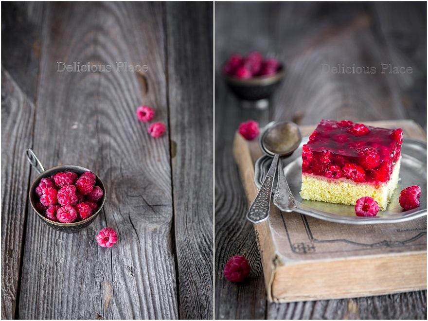 Ciasto anyżkowe z galaretką i malinami