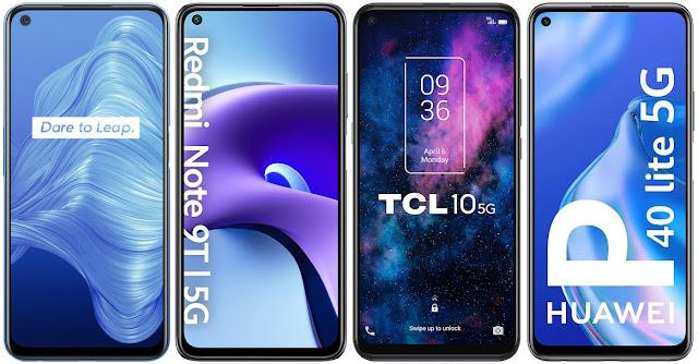 Realme 7 5G vs Xiaomi Redmi Note 9T 5G vs TCL 10 5G vs Huawei P40 lite 5G