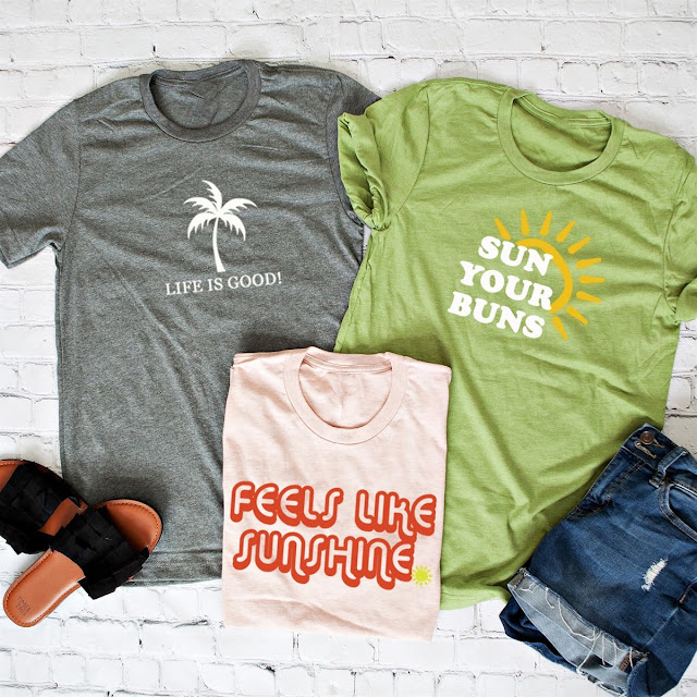 6fef4b7d1 You can get these fun Summer Sunshine themed graphic tees for $13.99 right  now. There are several different designs and colors available.
