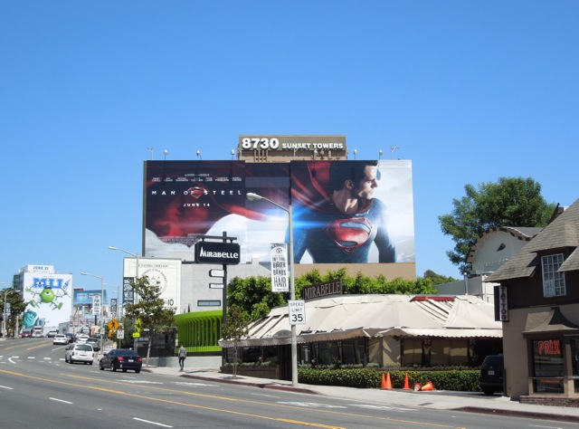 Giant Man of Steel movie billboard Sunset Strip