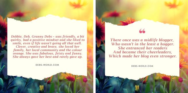 4 sentence eulogy - Deb from Deb's World