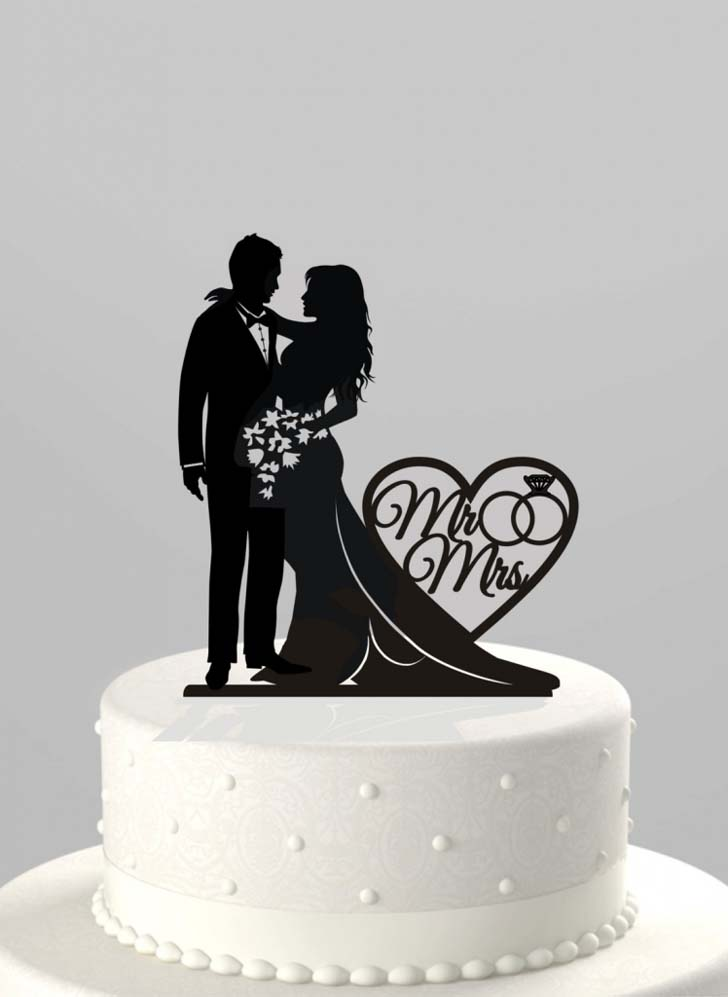 Wedding Cake Topper 58 Cool Silhouette Wedding Cake Toppers