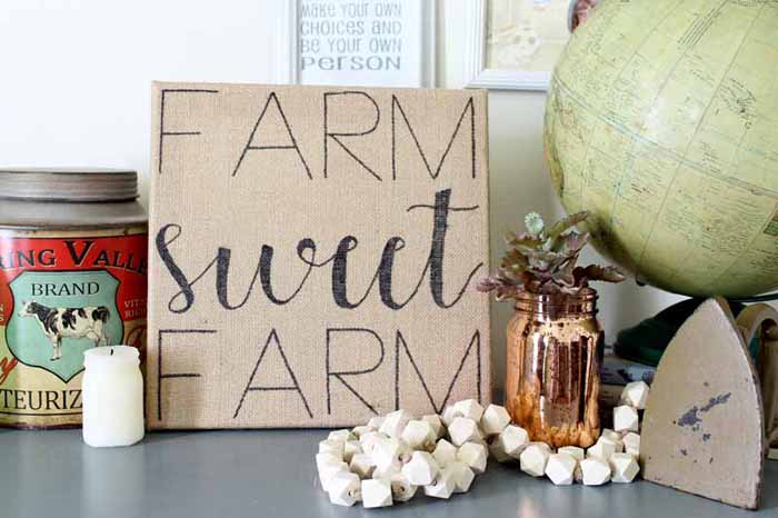 DIY Burlap Farm Sign