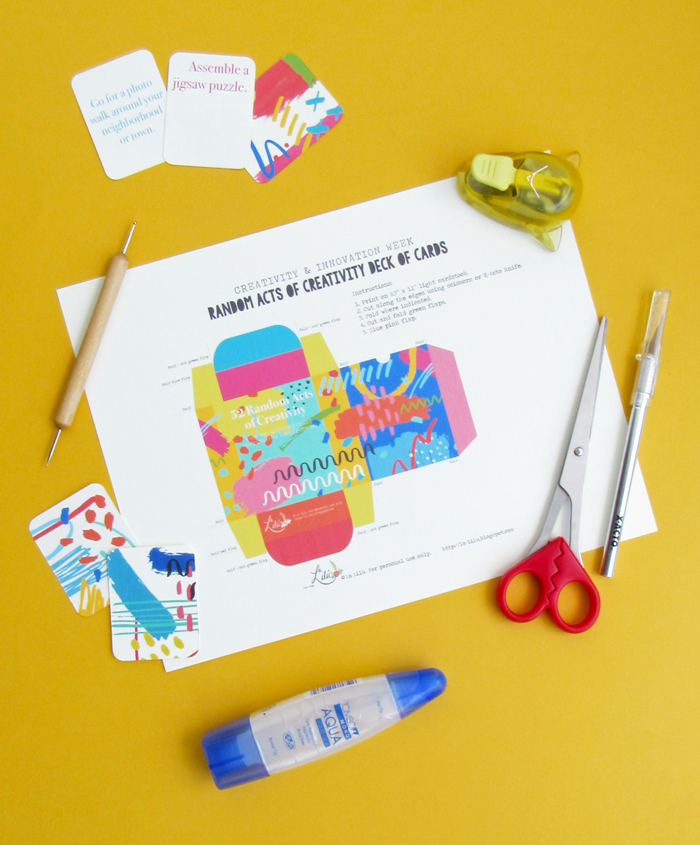 Creativity and Innovation Week, free printable cards, creative exercises, download, crafts, diy