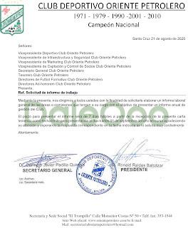 La solicitud de informes a la dirigencia de Oriente Petrolero - DaleOoo