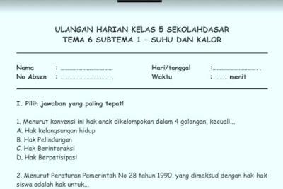 Soal Ulangan Harian K13 Kelas 5 Tema 6 Subtema 1