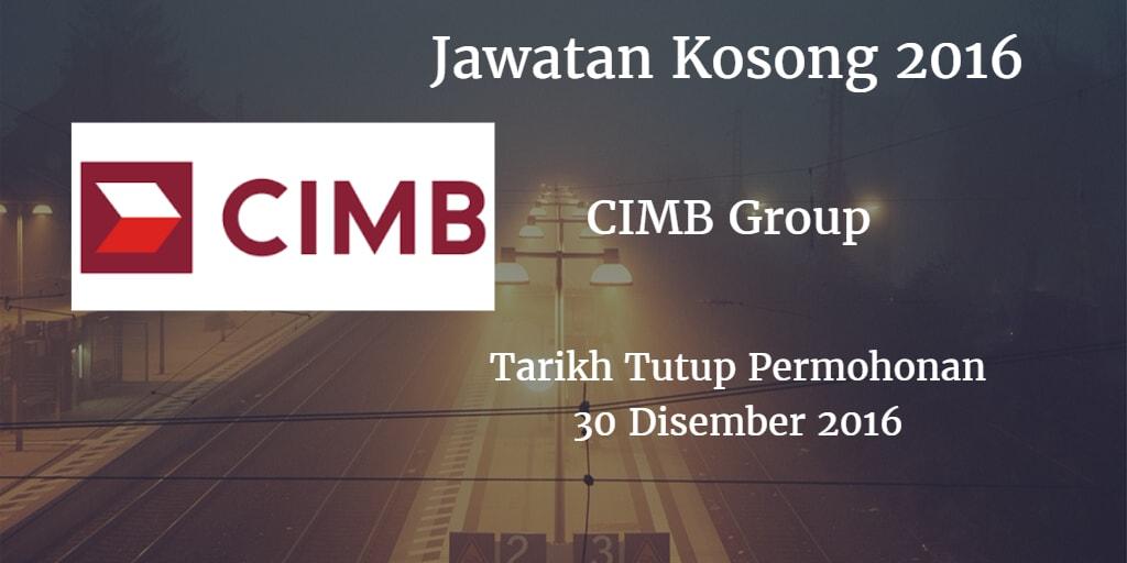 Jawatan Kosong CIMB Group 30 Disember 2016