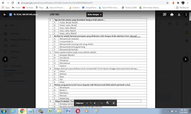 Contoh Soal Ujian Madrasah (UM) Sejarah Kebudayaan Islam (SKI) MA