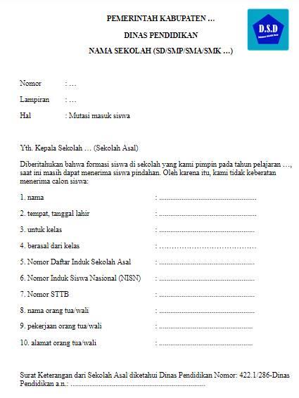 contoh format - surat mutasi masuk siswa - dari sekolah yang dituju untuk sekolah asal