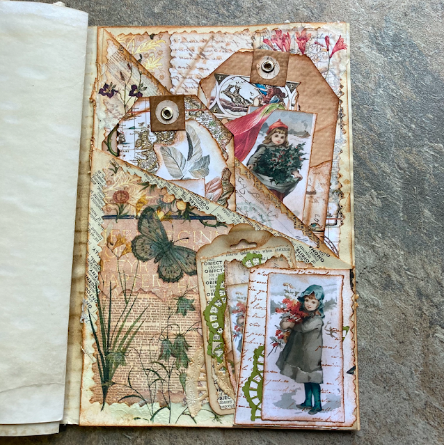 Junk Journal: Using Master Board For Book Page Covered Pockets