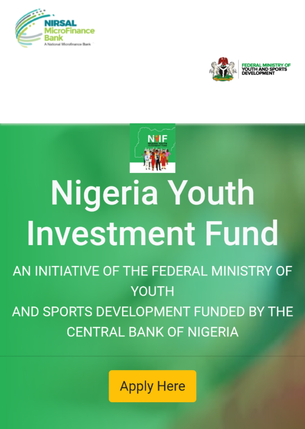 Clue On How To Apply And Succeed for Notional Youth Investment Fund (NYIF)