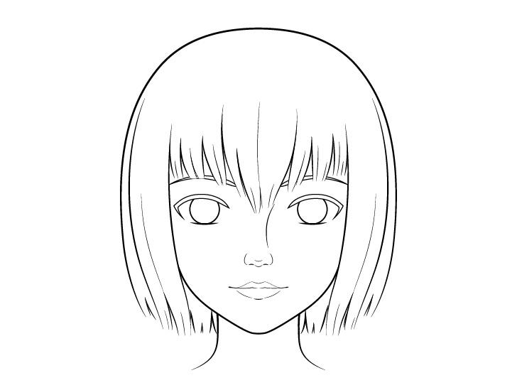 Gambar garis wajah anime realistis