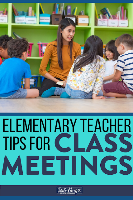 Learn what an elementary class meeting is, why it is important to do every morning, and tons of ideas for how to do it. We'll even go into the details about how the components of it fit together in a schedule structure for your 1st, 2nd, 3rd, 4th, or 5th grade classroom. Read this Clutter-Free Classroom blog post to learn more! #classmeeting #morningmeeting #responsiveclassroom #elementaryclassroom