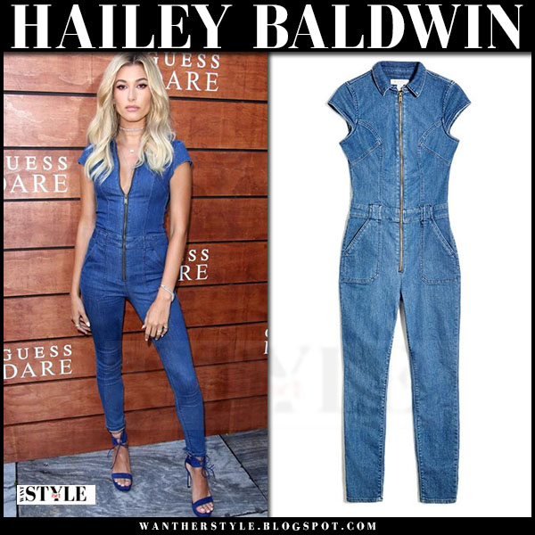 Hailey Baldwin in denim guess jesse jumpsuit and blue sandals what she wore