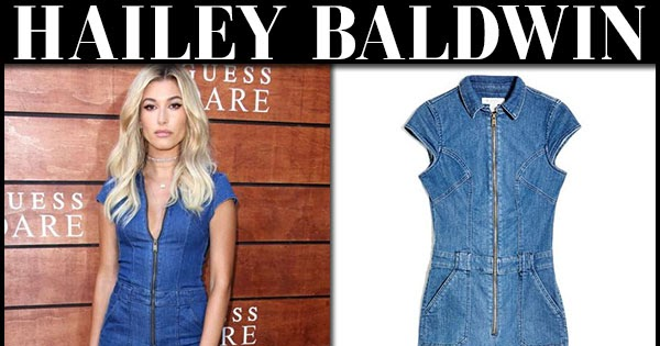 b54ca71969e Hailey Baldwin in denim zipper jumpsuit at Guess launch on July 27 ...