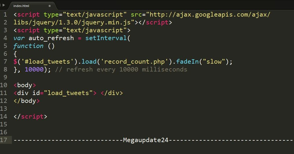 Make Auto Load And jQuery Refresh Page Div Every 10 Seconds
