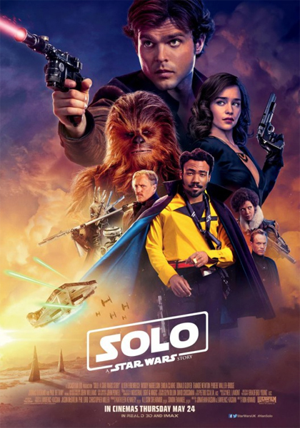 promotional poster for the film 'Solo: A Star Wars Story' featuring many of the primary cast members