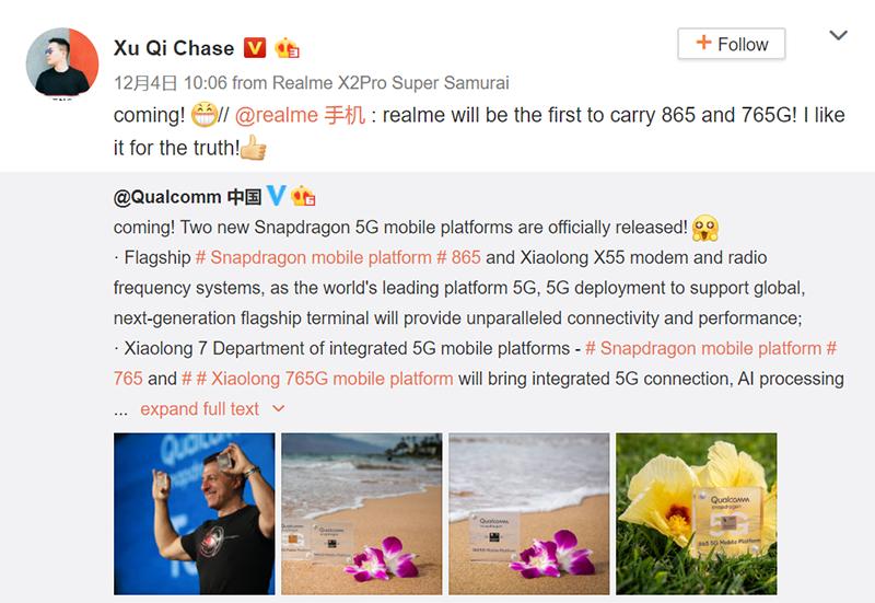 Weibo post of realme CMO Xu Qi Chase