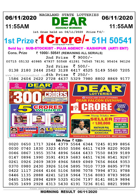 Lottery Sambad 06-11-2020, Lottery Sambad 11.55 am results, Nagaland Lottery Results, Lottery Sambad Today Results Live, Morning results