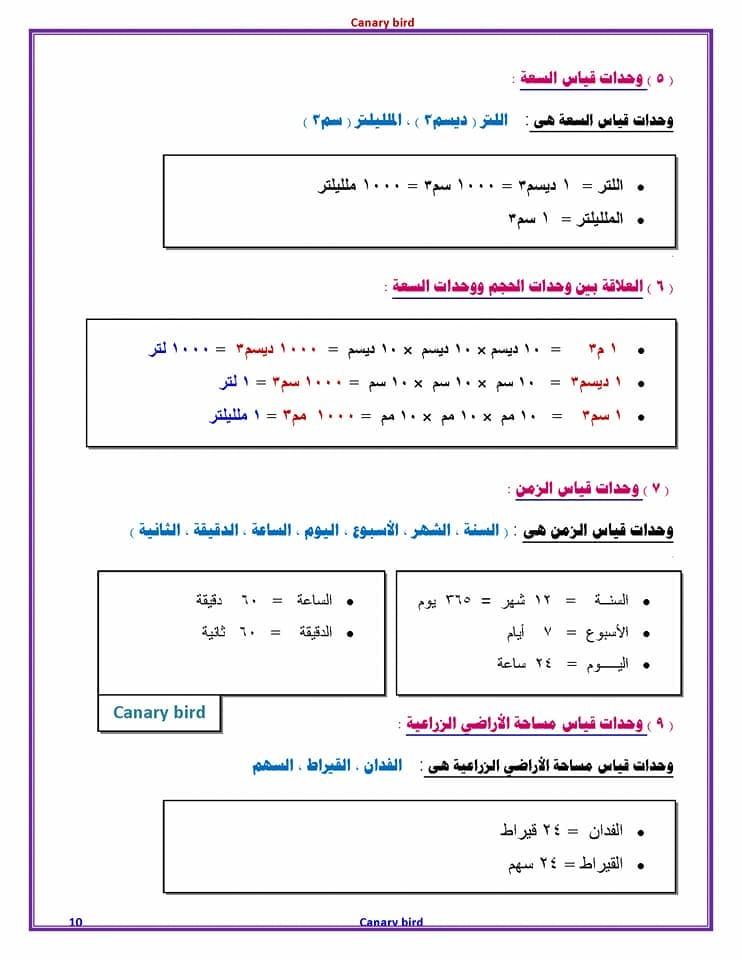 ملخص قوانين رياضيات الصف السادس الابتدائي في 4 ورقات 10