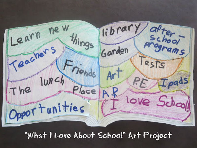 """My Favorite Things About School"" - a great art project for the beginning of a school year"