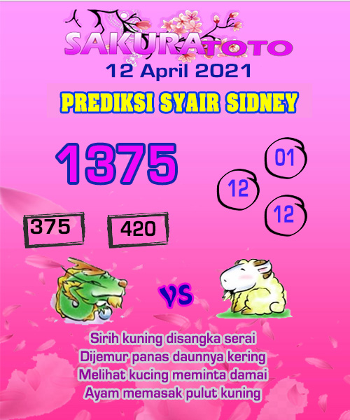 Syair Sakuratoto Sidney Senin 12 April 2021