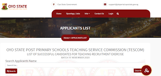 Oyo TESCOM List of Successful Candidates 2020 | Batch A, B & C