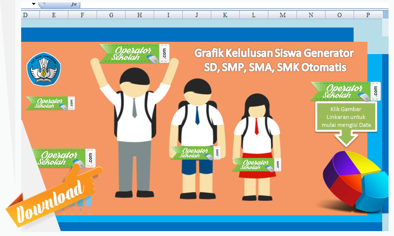 Grafik Kelulusan Siswa SD, SMP, SMA, SMK menggunakan Aplikasi Berbasis Excel