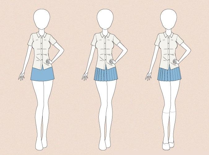 Menggambar seragam sekolah anime pada contoh gambar tubuh