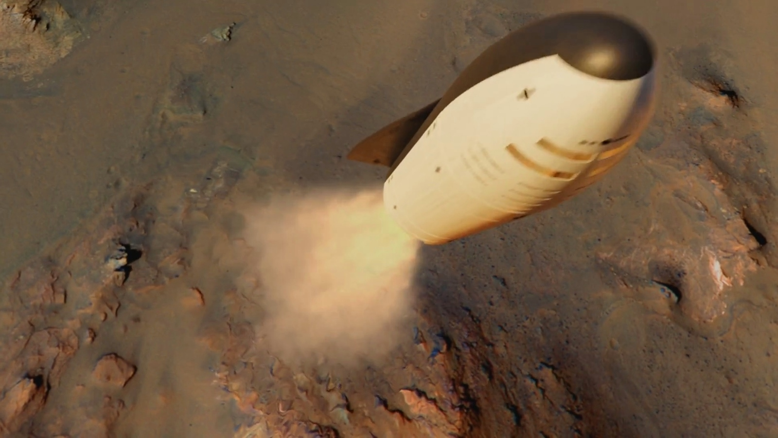 SpaceX BFR spaceship (BFS) landing on Mars