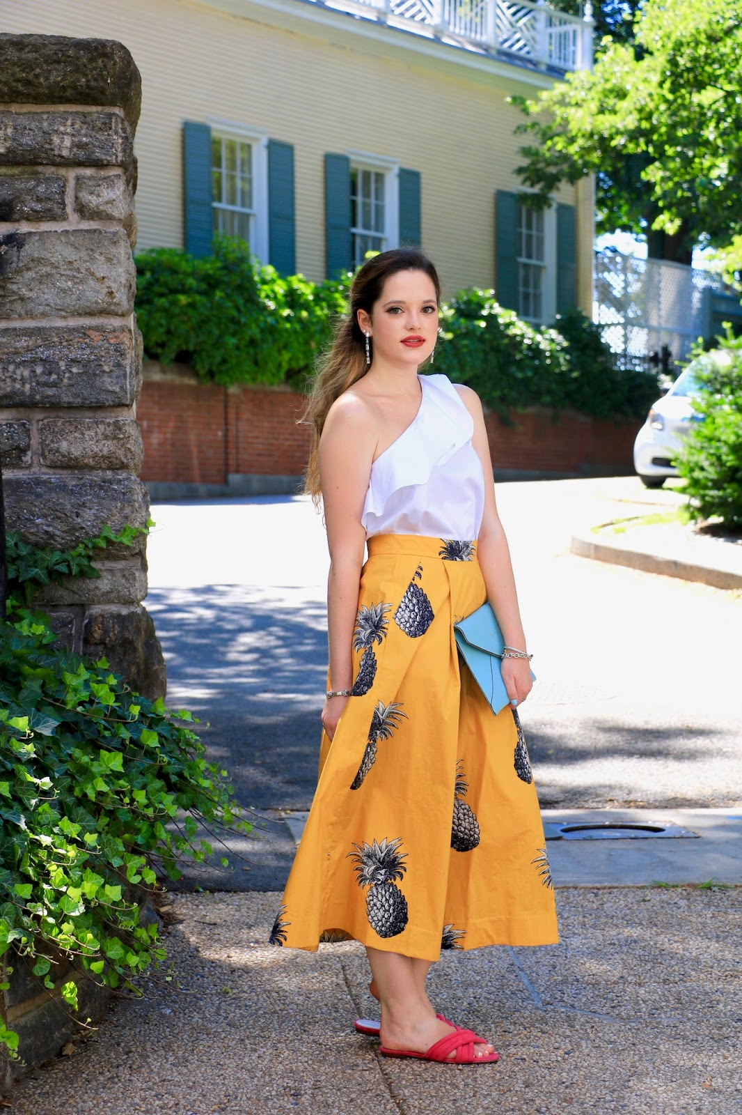 Nyc fashion blogger Kathleen Harper wearing a pineapple skirt and ruffle top